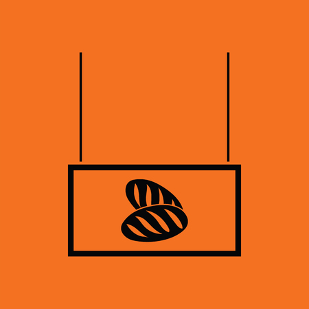 bake sale sign: Bread market department icon. Orange background with black. Vector illustration.