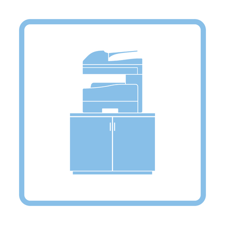 multifunction printer: Copying machine icon. Blue frame design. Vector illustration.
