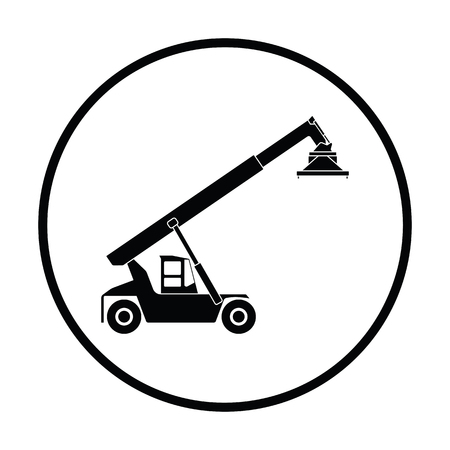 Port loader icon. Thin circle design. Vector illustration.