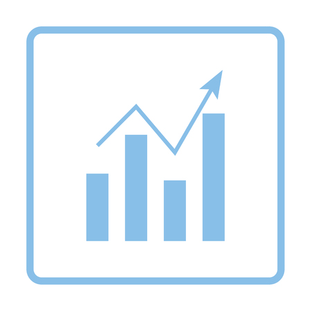 Analytics chart icon. Blue frame design. Vector illustration.