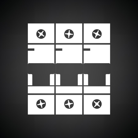 Circuit breaker icon. Black background with white. Vector illustration.