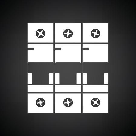 breaker: Circuit breaker icon. Black background with white. Vector illustration. Illustration