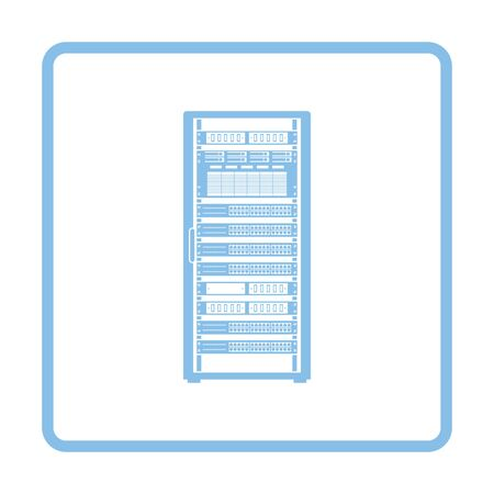 Server rack icon. Blue frame design. Vector illustration.