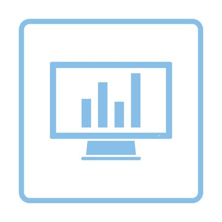 Monitor with analytics diagram icon. Blue frame design. Vector illustration.