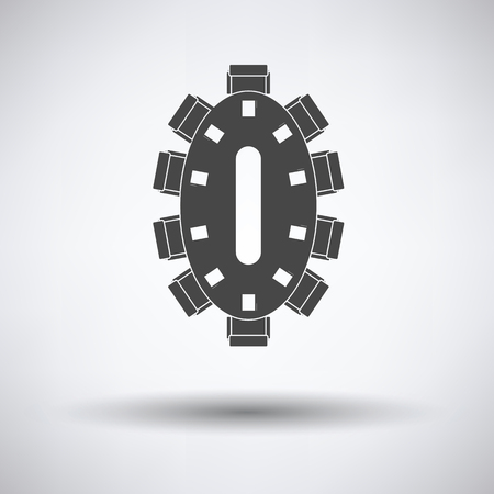 Negotiating table icon on gray background, round shadow. Vector illustration. Illustration