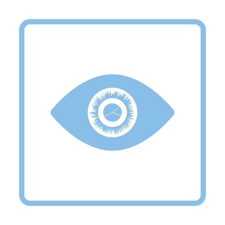 blue eye: Eye with market chart inside pupil icon. Blue frame design. Vector illustration.