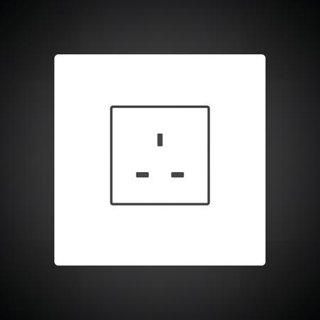 Icône de prise électrique en Grande-Bretagne. Fond noir avec blanc. Illustration vectorielle.