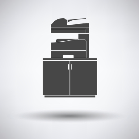 multifunction printer: Copying machine icon on gray background, round shadow. Vector illustration. Illustration