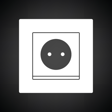 Europe electrical socket icon. Black background with white. Vector illustration. Vector Illustration