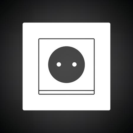 prise électrique icône électrique . fond noir avec un sourire. illustration vectorielle Vecteurs