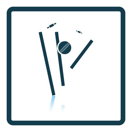 bails: Cricket wicket icon. Shadow reflection design. Vector illustration. Illustration