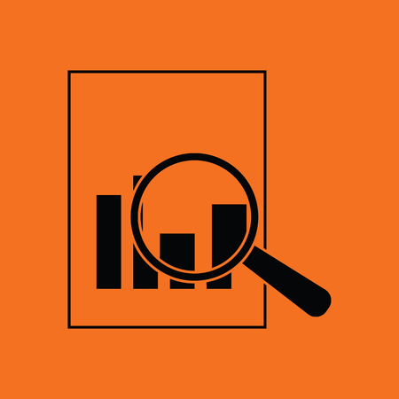 Magnificent glass on paper with chart icon. Orange background with black. Vector illustration.