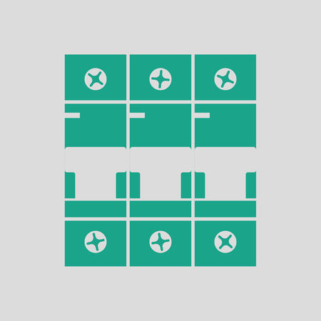 breaker: Circuit breaker icon. Gray background with green. Vector illustration.