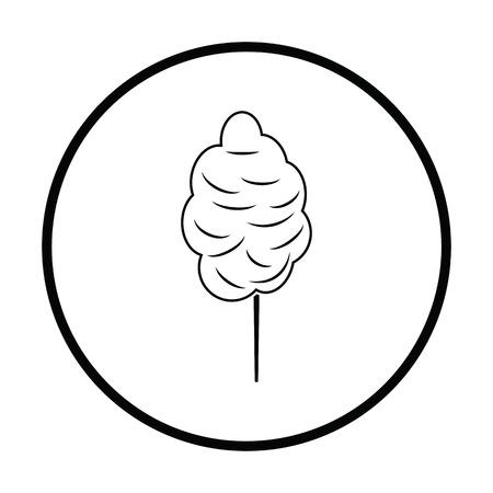 Cotton candy icon. Thin circle design. Vector illustration.