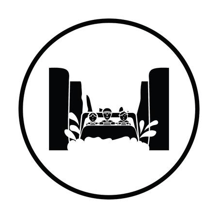 Water boat ride icon. Thin circle design. Vector illustration.