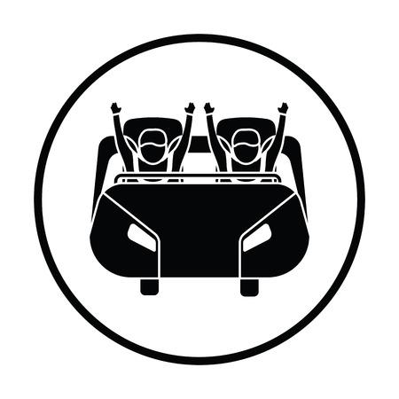 L'icône du panier à roulettes. Conception du cercle mince. Illustration vectorielle.