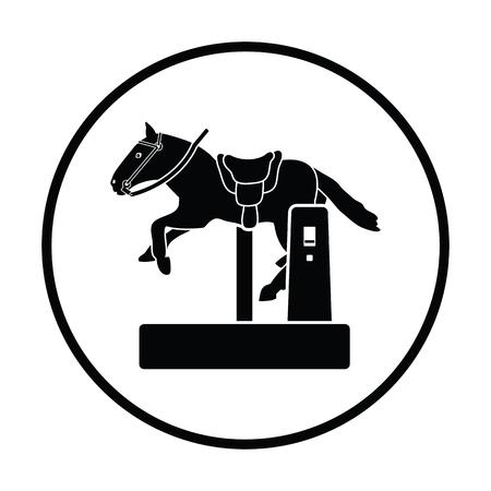 Horse machine icon. Thin circle design. Vector illustration. Illustration
