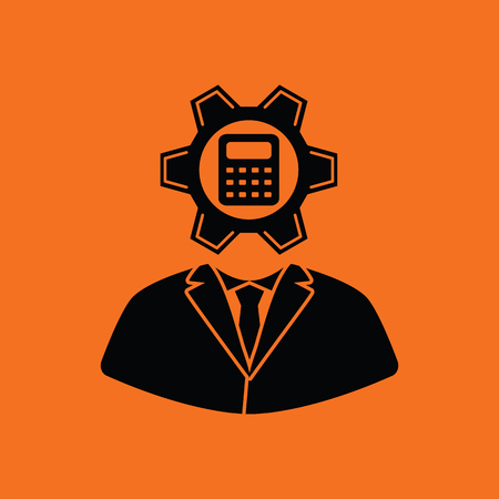 controlling: Analyst with gear hed and calculator inside icon. Orange background with black. Vector illustration. Illustration
