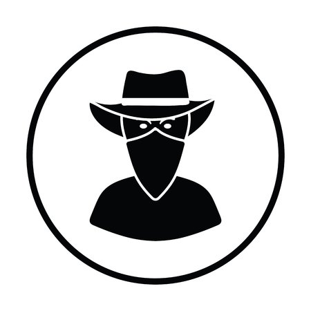 single man: Cowboy with a scarf on face icon. Thin circle design. Vector illustration.