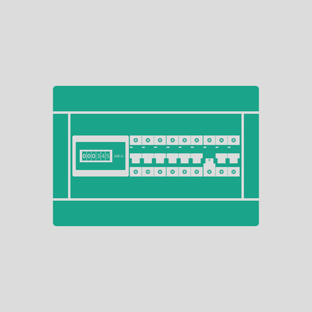Circuit breakers box icon. Gray background with green. Vector illustration. Illustration