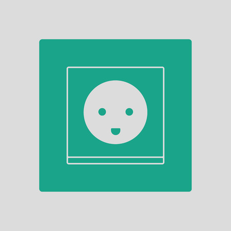 controlling: Austria electrical socket icon. Gray background with green. Vector illustration. Illustration