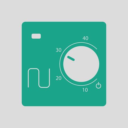 consume: Warm floor wall unit icon. Gray background with green. Vector illustration. Illustration