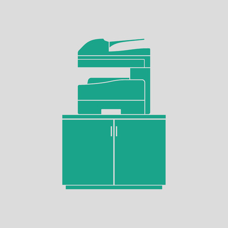 multifunction printer: Copying machine icon. Gray background with green. Vector illustration. Illustration