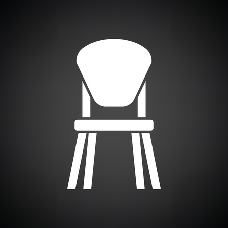 wood chair: Child chair icon. Black background with white. Vector illustration.