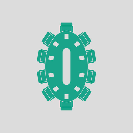 Negotiating table icon. Gray background with green. Vector illustration.