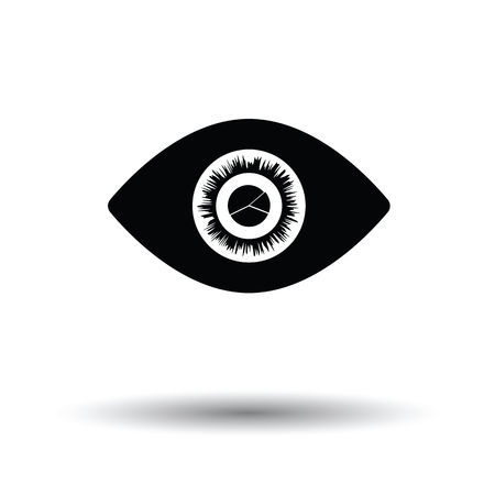 Eye with market chart inside pupil icon. White background with shadow design. Vector illustration.
