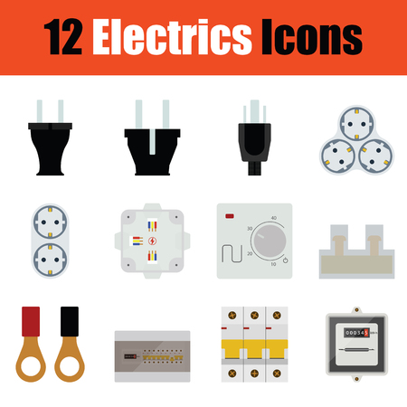 Flat design electrics icon set in ui colors. Vector illustration. Çizim