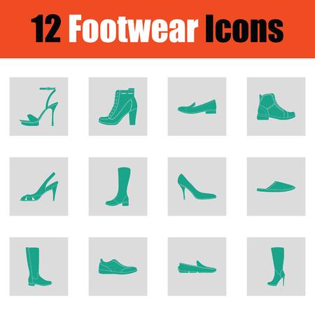 Set of footwear icons. Green on gray design. Vector illustration.