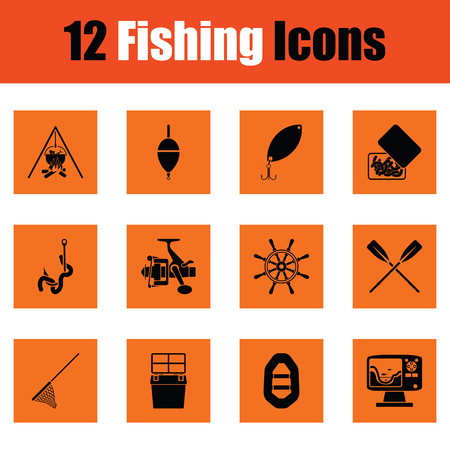 tackle box: Fishing icon set. Orange design. Vector illustration.