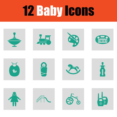 bootees: Baby icon set. Green on gray design. Vector illustration.