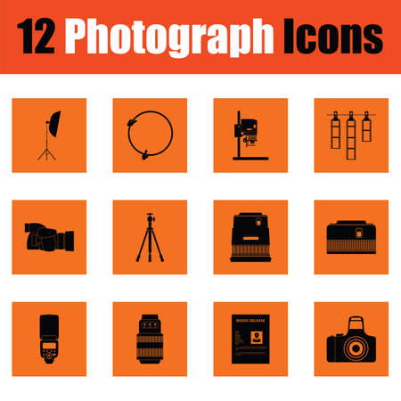 Photography icon set. Orange design. Vector illustration.