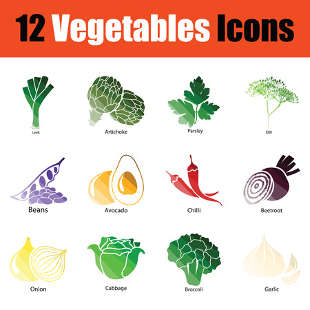 Vegetables icon set. Gradient color design. Vector illustration. Иллюстрация