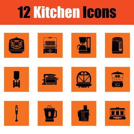 Keuken pictogram set. Oranje ontwerp. Vector illustratie.