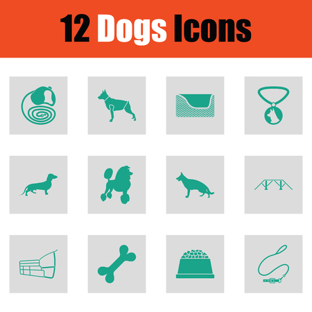 the trappings: Dogs icon set. Green on gray design. Vector illustration. Illustration