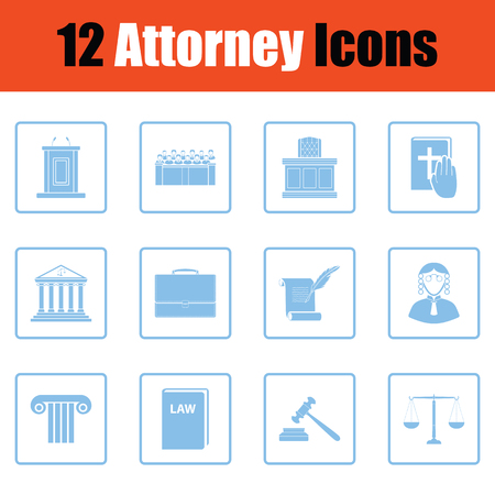 justice scale: Set of attorney  icons. Blue frame design. Vector illustration.