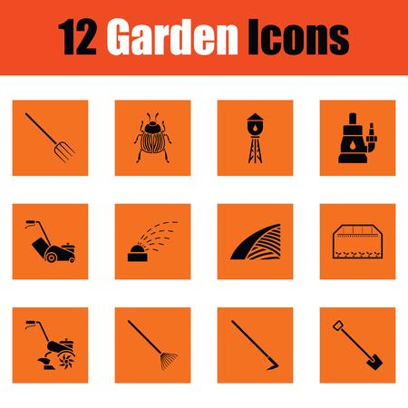 pitchfork: Set of gardening icons. Orange design. Vector illustration.