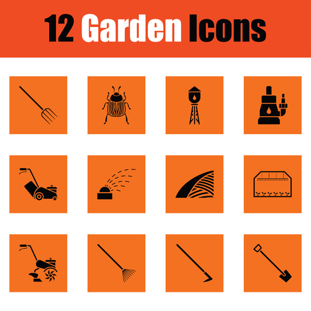 Set of gardening icons. Orange design. Vector illustration.