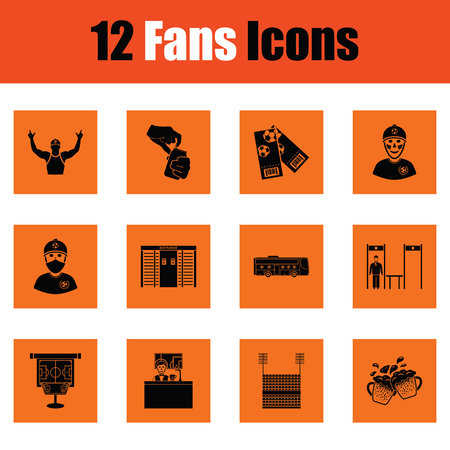 shawl: Set of soccer fans icons. Orange design. Vector illustration.