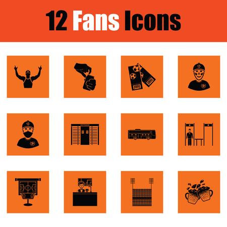 Set of soccer fans icons. Orange design. Vector illustration.