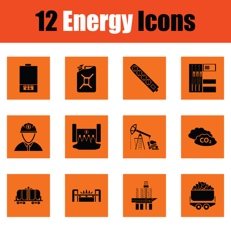 hydroelectric: Energy icon set. Orange design. Vector illustration.