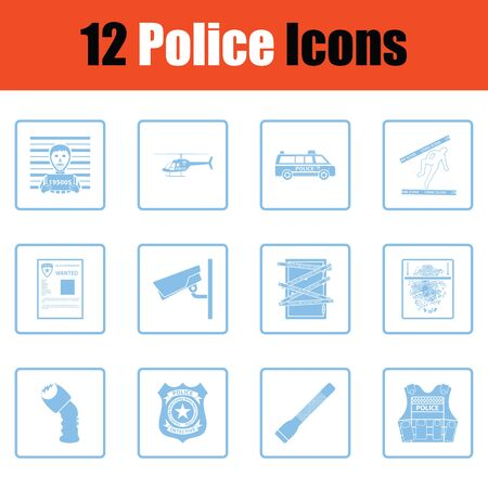 vest in isolated: Set of police icons. Blue frame design. Vector illustration.
