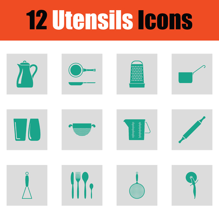 colander: Utensils icon set. Green on gray design. Vector illustration.