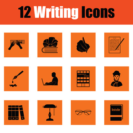 ink well: Set of writing icons. Orange design. Vector illustration.