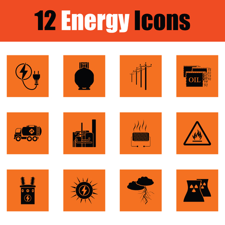 Energie pictogramserie. Oranje ontwerp. Vector illustratie. Stock Illustratie