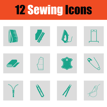 Set of sewing icons. Green on gray design. Vector illustration.