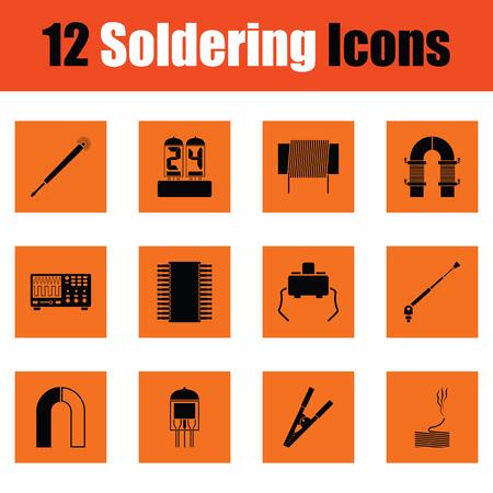 soldador: Conjunto de doce iconos de soldadura. Diseño naranja. Ilustración del vector. Vectores